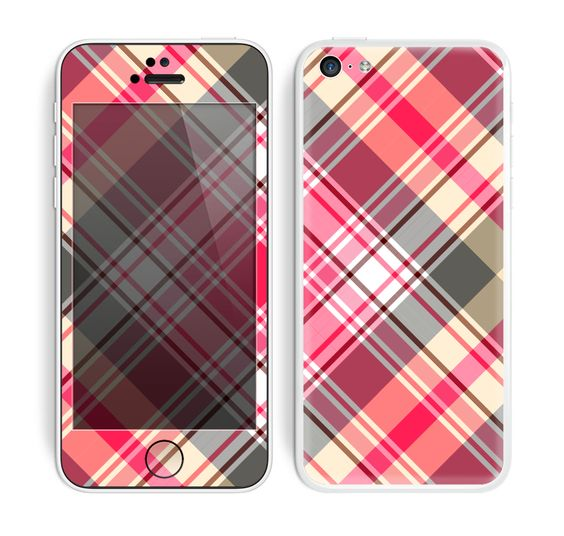 The Pink & Tan Plaid Layered Pattern V5 Skin for the Apple iPhone 5c
