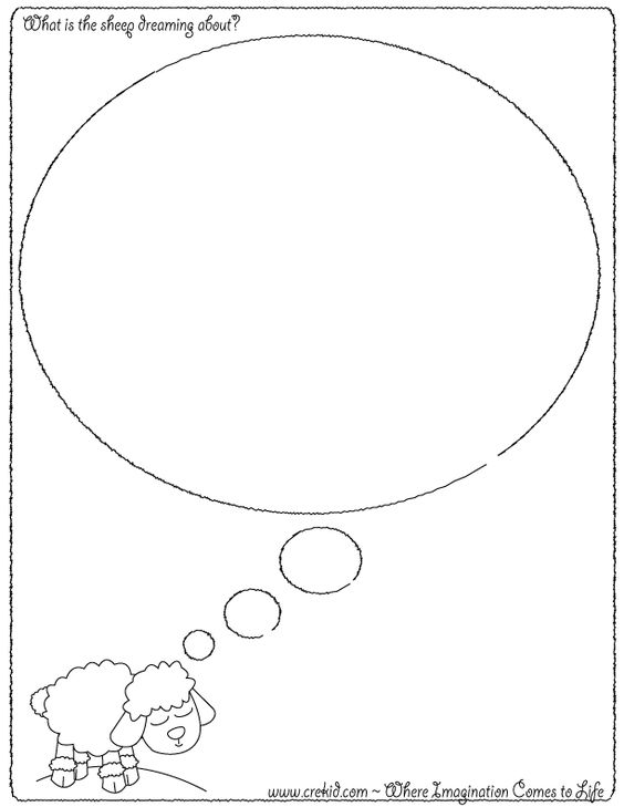 What is the sheep dreaming about?  CreKid.com - Creative Drawing Printouts - Spark your child's imagination and creativity. So much more than just a coloring page. Preschool - Pre K - Kindergarten - 1st Grade - 2nd Grade - 3rd Grade. www.crekid.com