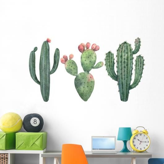 Watercolor Cacti And Succulents Wall Decal Sticker Set Succulent
