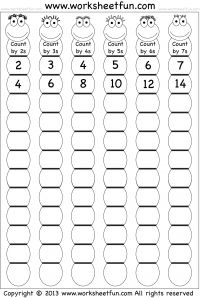 math worksheet : skip counting by 2 3 4 5 6 and 7  printable worksheets  : Math Skip Counting Worksheets