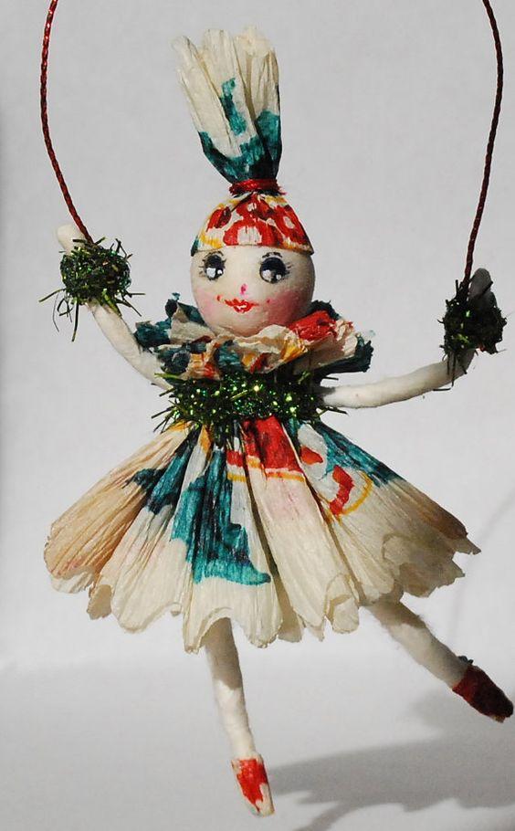 Toys For Ornaments : Spun cotton ooak vintage craft ornament christmas spirit