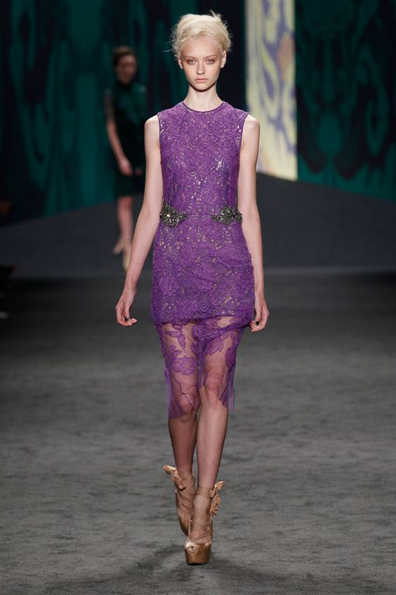 Amethyst chantilly hand-pieced lace sheath dress with jeweled waist over amethyst guipure sleeveless shift | Photography: Dan Lecca