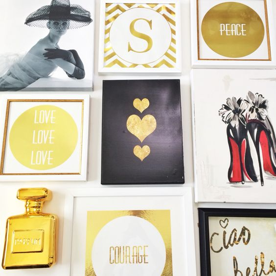 Home office fashion gallery wall