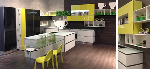 Id e de l 39 ilot avec prolongement table en verre et chaises de couleur de vive pour notre for Cuisine designe