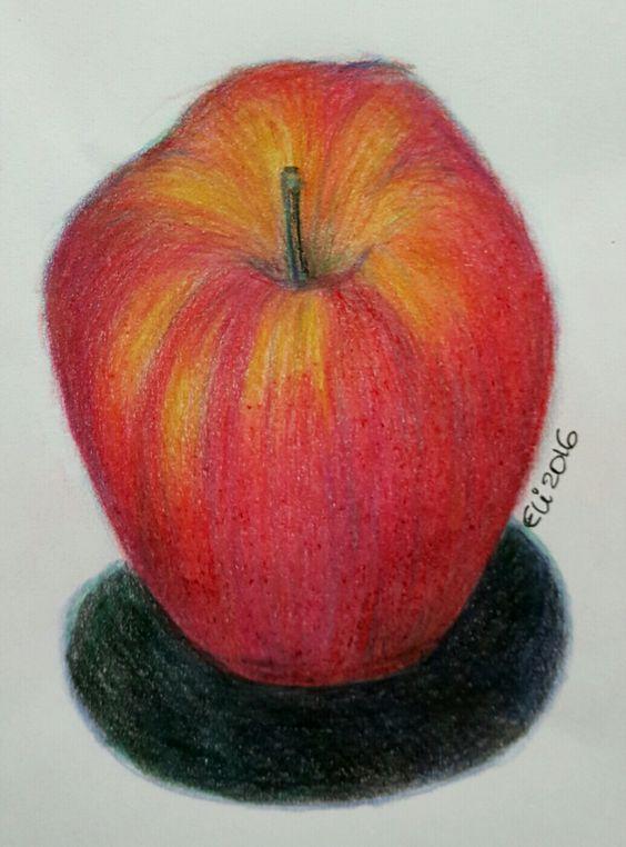 A maçã em lápis de cor