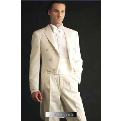 Mens Classic Double Breasted Ivory Wedding Tail Suits Tuxedos