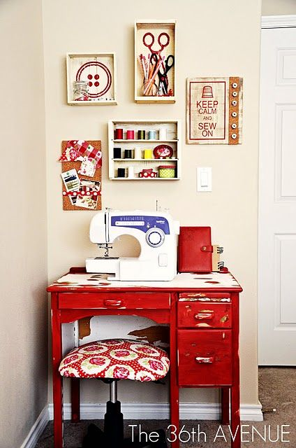 Cute sewing corner/organization using wine boxes from a thrift store.