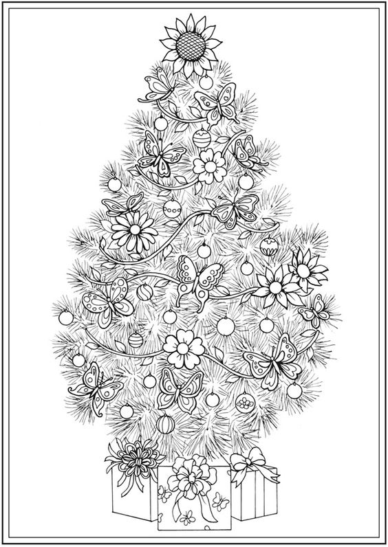 Creative Haven CHRISTMAS TREES Coloring Book By: Barbara Lanza -  Dover Publications COLORING PAGE 2 of  4