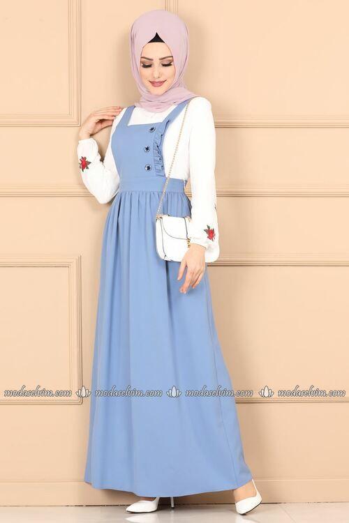 Modaselvim Elbise Firfir Ve Dugmeli Jile 622mr257 Mavi Muslim Fashion Outfits Muslim Fashion Dress Stylish Dresses For Girls