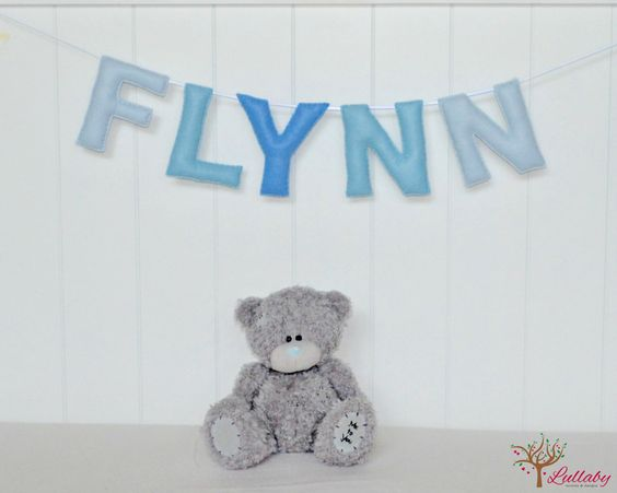 Personalized felt name banner wall art nursery decor - blue name banner - nursery decor - MADE TO ORDER by LullabyMobiles on Etsy
