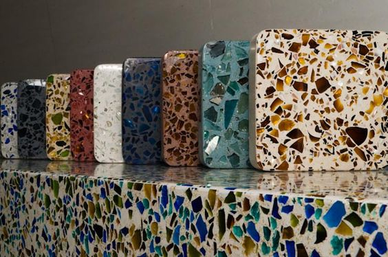 Recycled glass terrazzo flooring http://www.tevastone.com/wp-content/uploads/2010/10/teva-recycled-surfaces.jpg