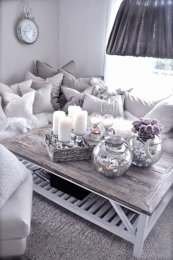 White And Silver Living Room Ideas Awesome Grey Sofa Silver Sparkle Bling Living Awesome Blin In 2020 Table Decor Living Room Purple Living Room Silver Living Room
