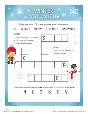 winter crossword easy words crossword and the o 39 jays. Black Bedroom Furniture Sets. Home Design Ideas
