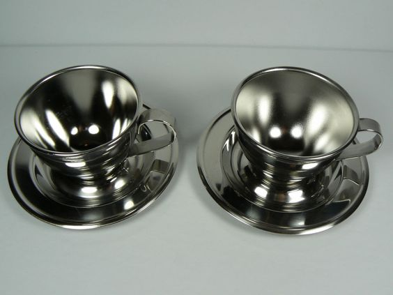 Anti‑Scald Stainless Steel Coffee Cup Mugs Espressos Cups with Spoon Saucer Set