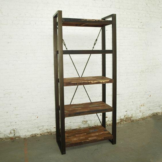 Boekenkast isis vintage met 5 planken en metalen frame 92 cm boekenkasten kasten - Boekenkast hout en ijzer ...