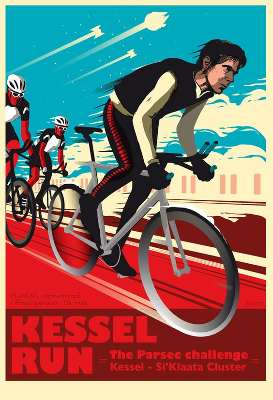 Kessel Run. Very creative. Love the bike race theme and of course Star Wars.