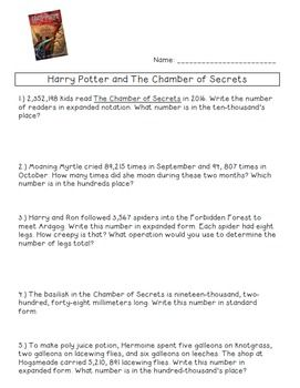 Harry Potter and The Chamber of Secrets Place Value Word Problems ...