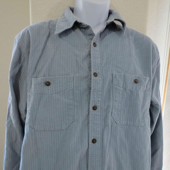 Territory Ahead Blue Cotton Corduroy Long Sleeve Button Front Shirt Mens M #289 #TerritoryAhead #ButtonFront