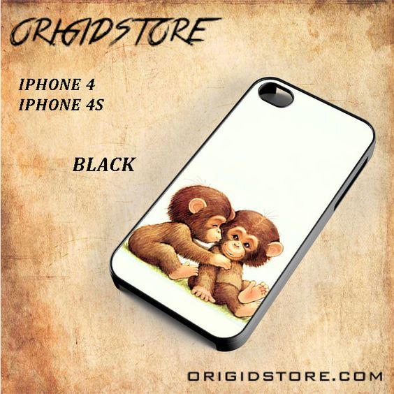Cute Cartoon Monkey Snap On Black White 3D For Iphone 4/4S Case