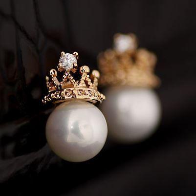 CROWNED PEARL STATEMENT EARRINGS AEBGCD | Sniydan - Jewelry on ArtFire