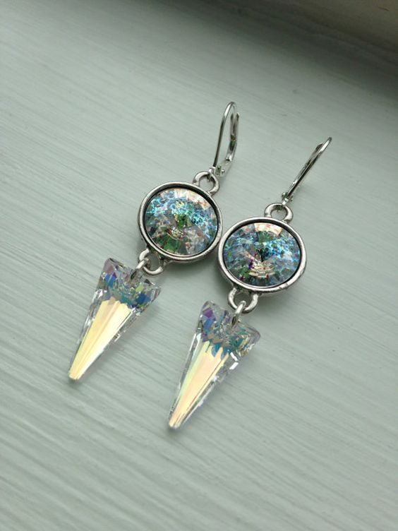 Aurora Borealis, Dangle Silver Plated Swarovski Crystal by FARFELLY