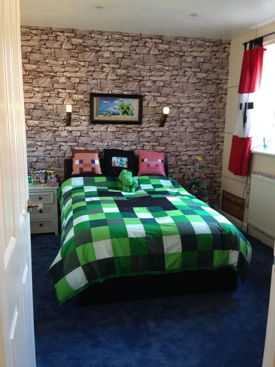 Unofficial Minecraft inspired bedding made by I'm in stitches on Facebook…