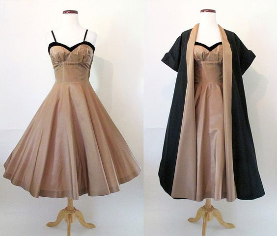 Dreamy 1950's Two Piece Satin Cocktail Party Dress with Matching Coat Rockabilly…