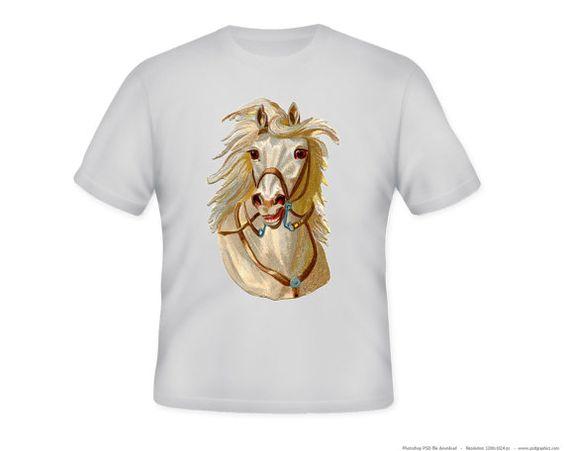 Fantastic White Stallion Horse Head Adult Tshirt by lesleyhornbeck, $12.00