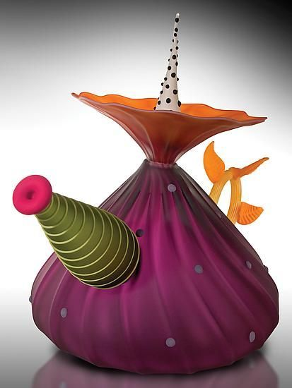 Garden Variety Teapot in Hyacinth: Bob Kliss and Laurie Kliss: Art Glass Teapot - Artful Home - great color