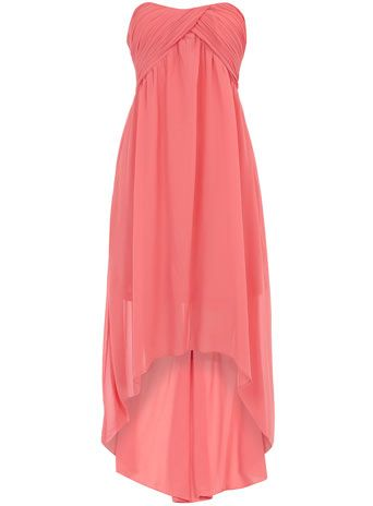 Coral ruched bandeau dip dress.