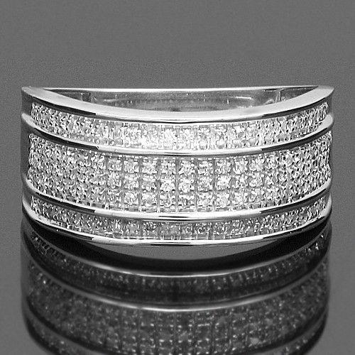 10k White Solid Gold Mens Diamond Wedding Band 0 38 Ctw Mens Diamond Wedding Bands Diamond Wedding Bands Diamond Wedding
