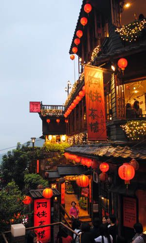 Jiufen, Taiwan: Teahouses and boutiques. Also the inspiration for the scenery of Spirited Away by Hayao Miyazaki (director of Totoro and Kiki's Delivery Service):