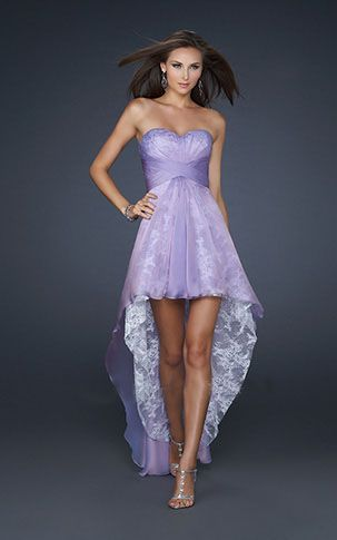 I want!! La Femme 17576 Sweetheart High Low Lace Ruffle Prom Dress Purple.