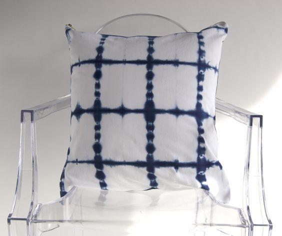 Blue Shibori on White Cotton Pillow Cover