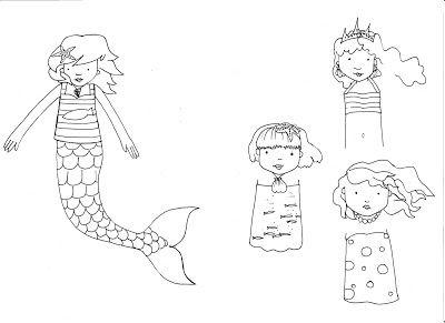 modèle de sirène  marque page sirène sur atelier 3b boite à idées créatives pour les enfants