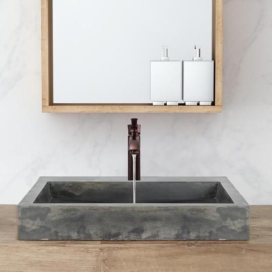 Belzoni Rectangular Cast Concrete Vessel Sink Natural With