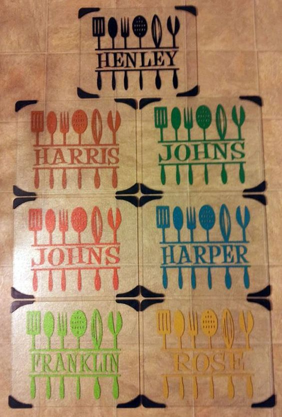 Baby gift ideas using vinyl : Personalized glass cutting board with vinyl by