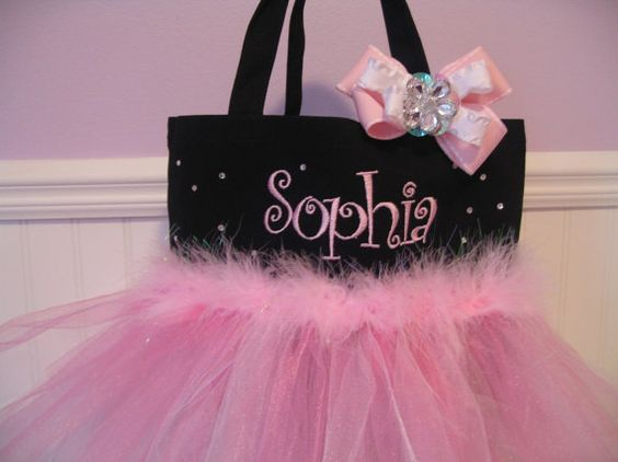 Embroidered Dance Bag  Personalized Baby Pink with by gkatdesigns, $32.00