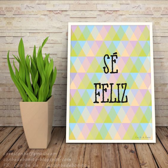 lámina gratuita sé feliz be happy con be de bonito