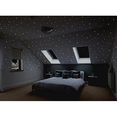Sternenreich Realistischer Sternenhimmel Zum Aufkleben Uber 400 Selbstklebende Leuchten Schlafzimmer Ideen Minimalistisch Haus Deko Graue Wand Schlafzimmer
