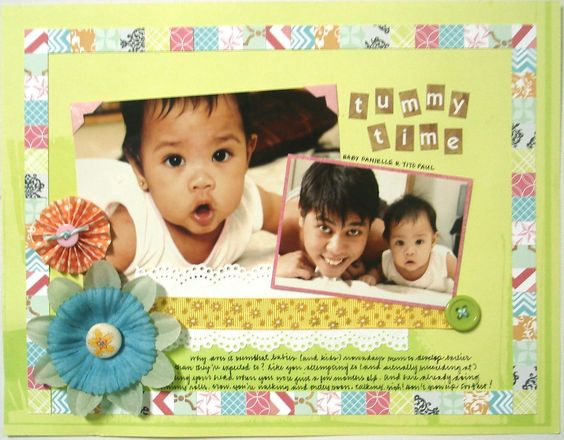 Scrapbook layout - Tummy Time