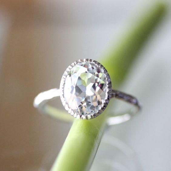 White Topaz Milgrain Ring In No Nickel / Nickel by louisagallery, $135.00