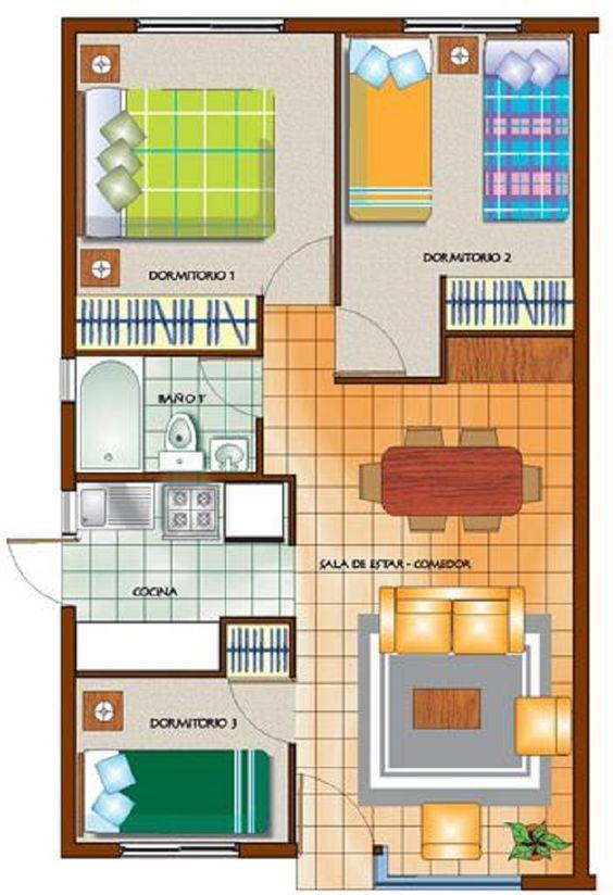 plano de casa de un piso con tres dormitorios casas