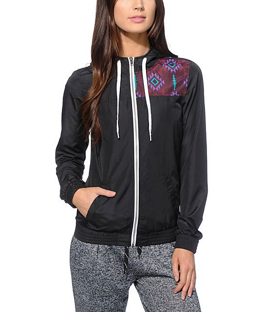 Empyre Roni Black Tribal Windbreaker Jacket | Windbreaker Hoods
