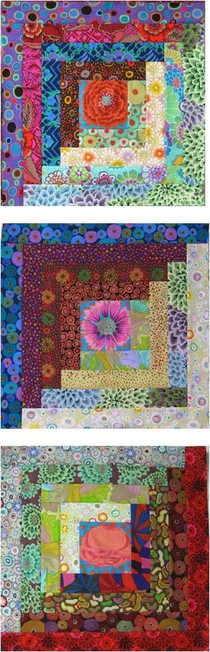 Log cabin blocks with Kaffe Fassett fabrics and fussy-cut centers. Wanda Hanson, 2009, Exuberant Color: