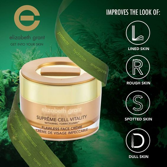 Elizabeth Grant's Supreme Flawless Face Cream features Klamath Lake Blue Green Algae. The naturally occurring algae is a combination of moisturizers and anti-oxidants. It will renew the look of the dullest and roughest-looking complexion, making skin appear more luminous and radiant.