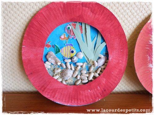Les petits poissons : bricolage avec assiette en carton |La cour des petits