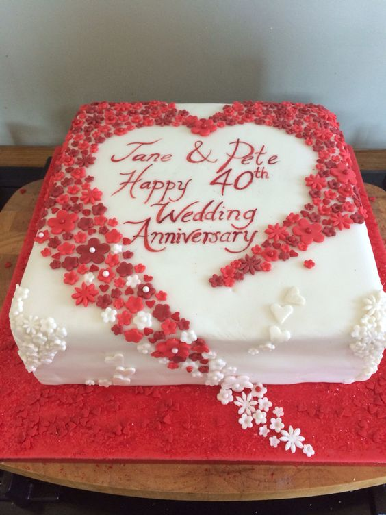 Monginis Cake Designs For Anniversary : Hearts and flowers 40th wedding anniversary cake. Ruby ...