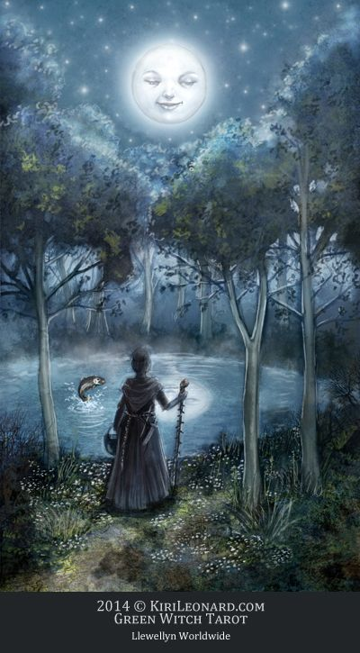 illustration of the moon smiling down at an old witch who is walking towards a pond in the woods at night.