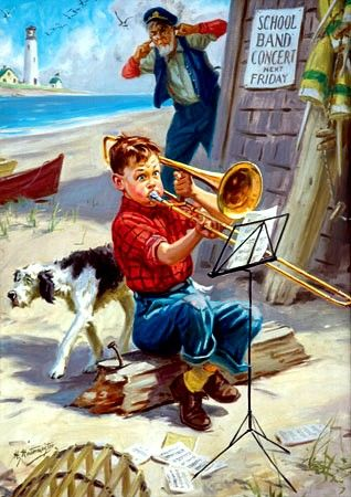 Hintermeister, Henry (Hy); Oil on Canvas Painting, signed, Boy Practicing Trombone.